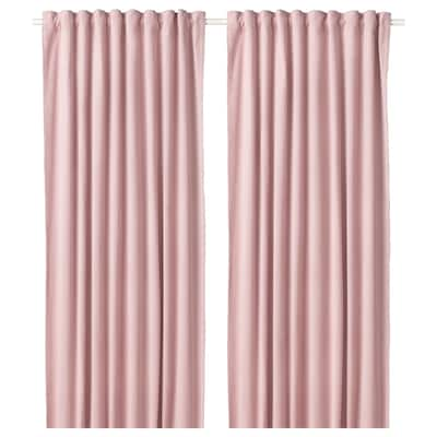 SANELA Room darkening curtains, 1 pair, light pink, 140x300 cm