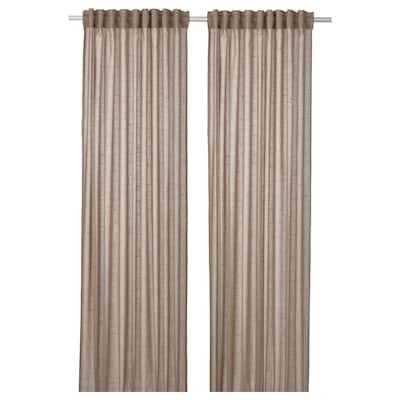 SILVERLÖNN Sheer curtains, 1 pair, beige, 145x300 cm