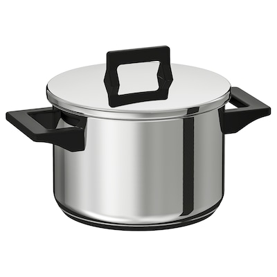 SNITSIG Pot with lid, stainless steel, 3 l