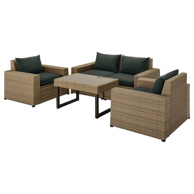 SOLLERÖN 4-seat conversation set, outdoor, brown/Hållö black