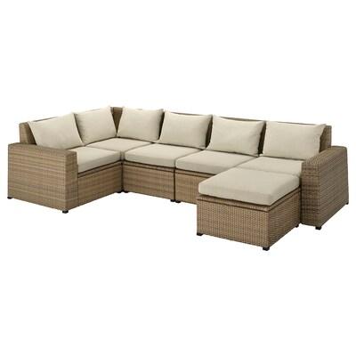 SOLLERÖN Modular corner sofa 4-seat, outdoor, with footstool brown/Hållö beige