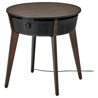 STARKVIND Table with air purifier, stained oak veneer/dark brown