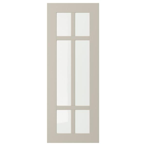 STENSUND Glass door, beige, 30x80 cm