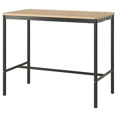 TOMMARYD Table, white stained oak veneer/anthracite, 130x70x105 cm
