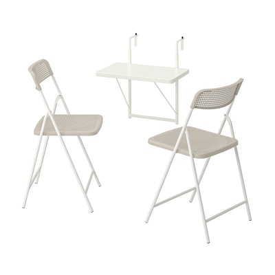 TORPARÖ Table f wall+2 fold chairs, outdoor, white/beige, 50 cm