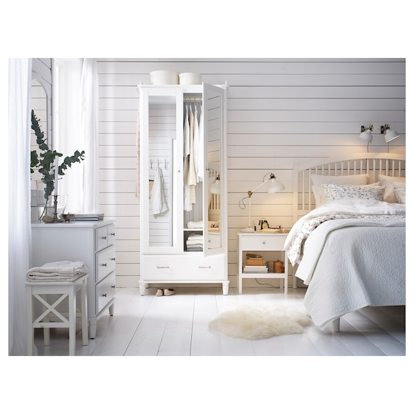 TYSSEDAL Bed frame, white/Luröy, 180x200 cm