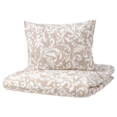 VÅRBRÄCKA Duvet cover and 2 pillowcases, beige/white, 200x200/50x60 cm