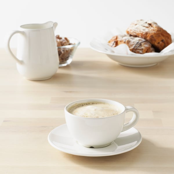 VARDAGEN Coffee cup and saucer, off-white, 14 cl