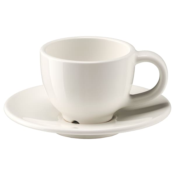 VARDAGEN Espresso cup and saucer, off-white, 6 cl