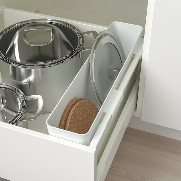 VARIERA Storage box, high-gloss/white, 50x12 cm