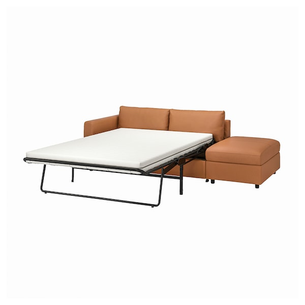 VIMLE 3-seat sofa-bed, with open end/Grann/Bomstad golden-brown
