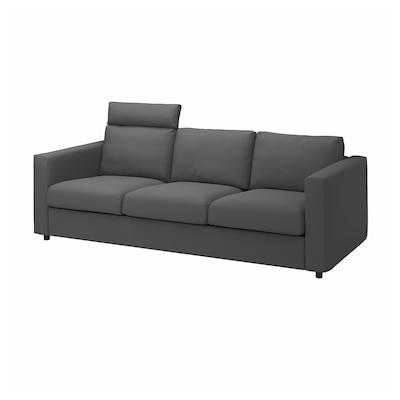 VIMLE 3-seat sofa, with headrest/Hallarp grey