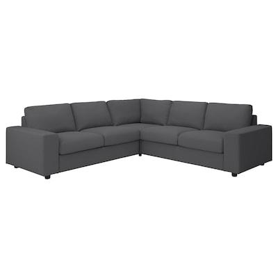 VIMLE Corner sofa, 4-seat, with wide armrests/Hallarp grey