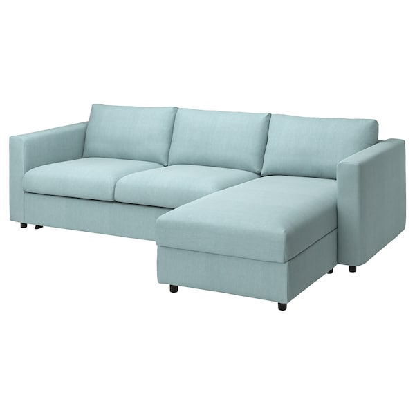 VIMLE Cover 3-seat sofa-bed w chaise lng, Saxemara light blue