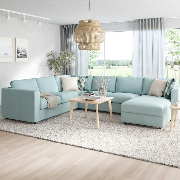 VIMLE Crnr sofa-bed, 5-seat w chaise lng, Saxemara light blue