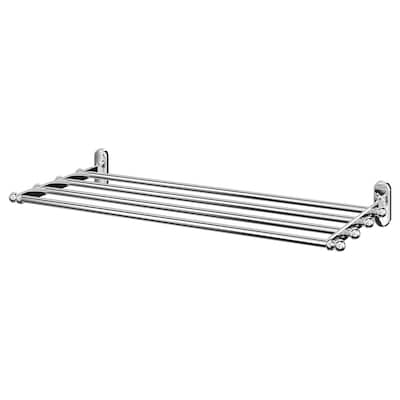 VOXNAN Wall shelf with towel rail, chrome effect, 68x28 cm