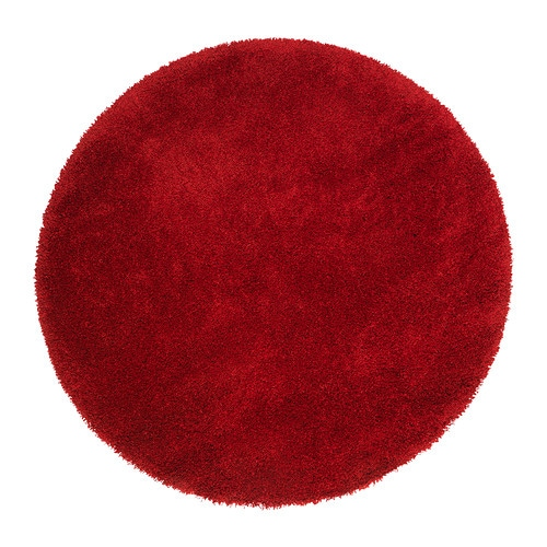 ikea adum hochflor teppich shaggy langflor rot rund 130cm flauschig weich neu ebay. Black Bedroom Furniture Sets. Home Design Ideas