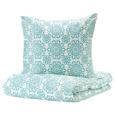 IKEA LYKTFIBBLA Bettwäscheset Weiß Grau Baumwolle Bettwäsche Bettbezug Herz DHL