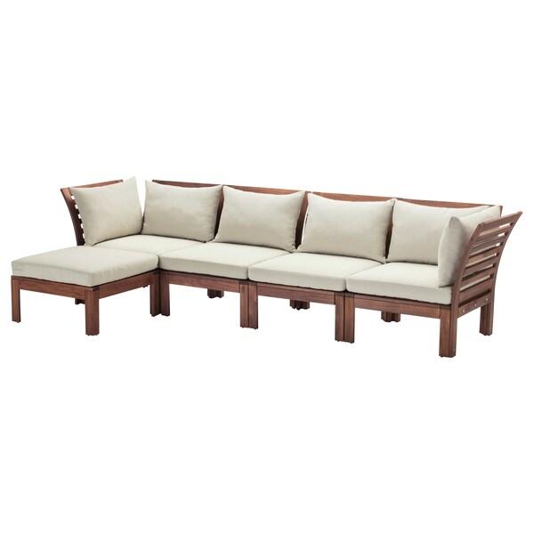 ÄPPLARÖ 4er-Sitzelement/außen, mit Hocker braun las./Hållö beige, 143/286x80x73 cm