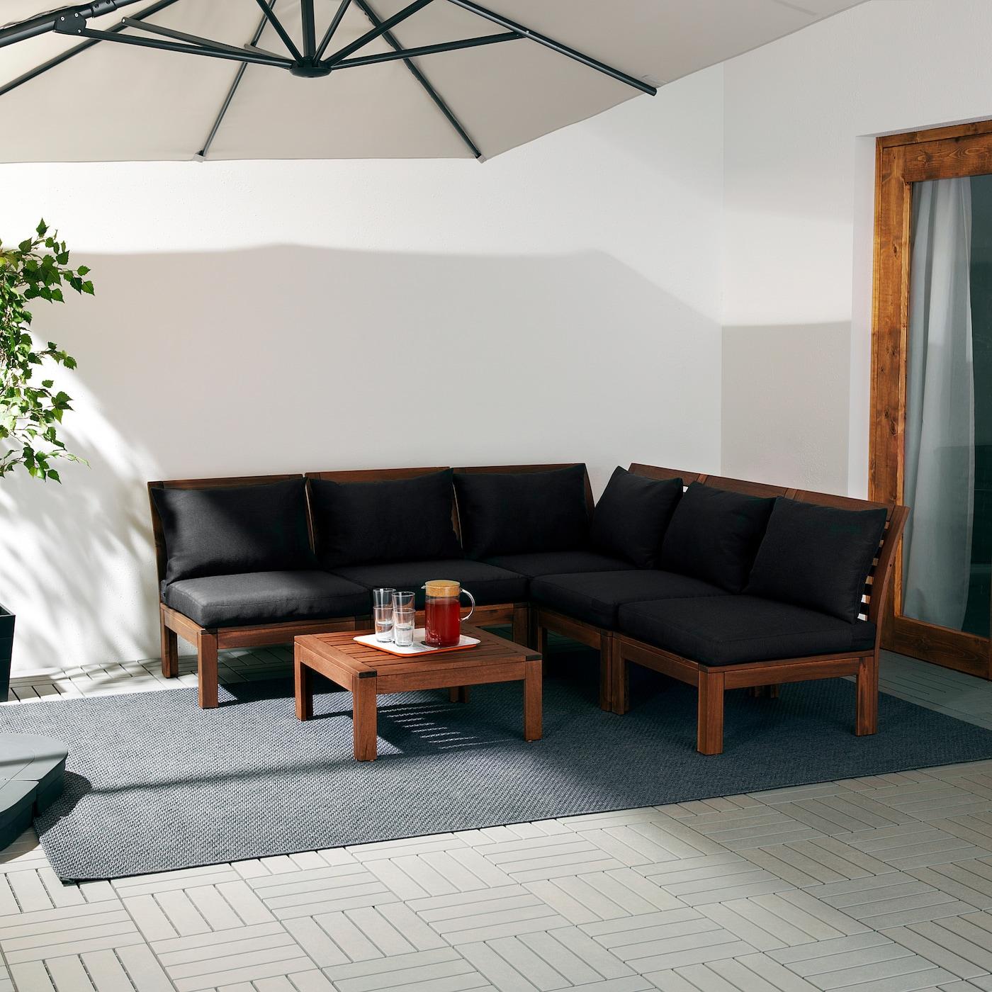 ÄPPLARÖ Modulecksofa 4-sitzig/außen, braun las./Hållö schwarz, 206/206x80x73 cm