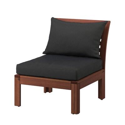 ÄPPLARÖ Sessel/außen, braun las./Hållö schwarz, 63x80x78 cm