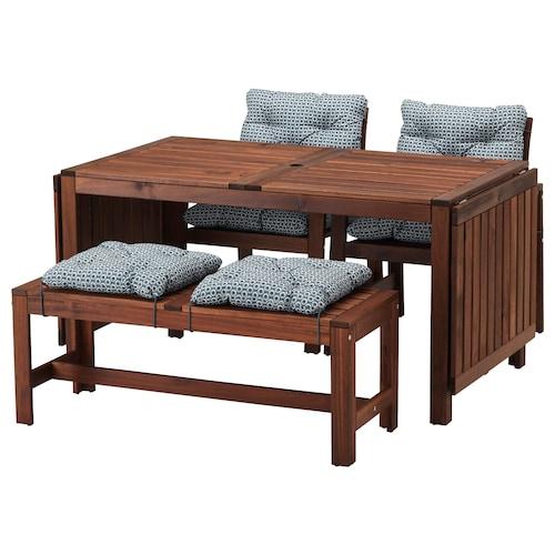 IKEA ÄPPLARÖ Tisch+2 armlehnstühle+bank/außen