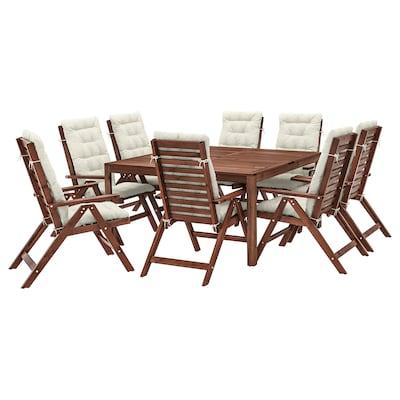 ÄPPLARÖ Tisch+8 Hochlehner/außen braun las./Kuddarna beige