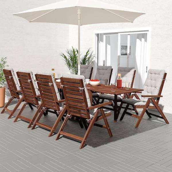 ÄPPLARÖ Tisch+8 Hochlehner/außen braun las./Kuddarna grau