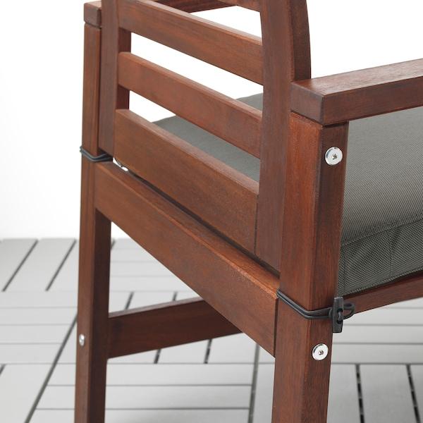 ÄPPLARÖ Tisch+2 Armlehnstühle+Bank/außen, braun las./Frösön/Duvholmen dunkelgrau