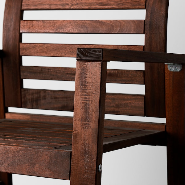 ÄPPLARÖ Tisch+2 Armlehnstühle+Bank/außen, für draußen braun las.