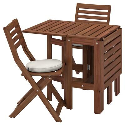 ÄPPLARÖ Tisch+2 Klappstühle/außen, braun las./Frösön/Duvholmen beige