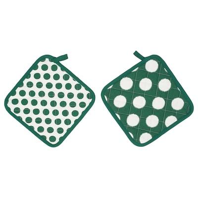 ALVALISA Topflappen grün/weiß 23 cm 23 cm 2 Stück
