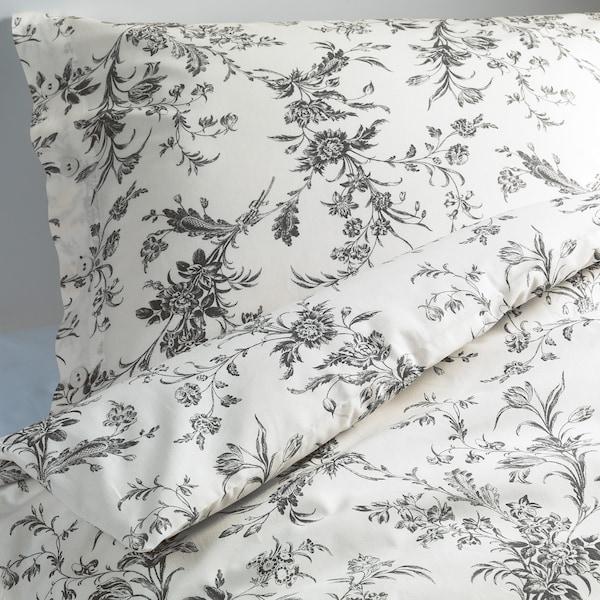 ALVINE KVIST Bettwäsche-Set, 2-teilig, weiß/grau, 155x220/80x80 cm