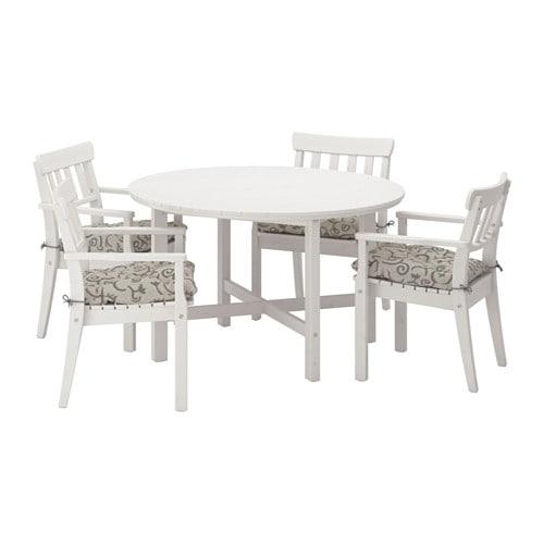 ngs tisch 4 armlehnst hle au en ngs wei las steg n beige ikea. Black Bedroom Furniture Sets. Home Design Ideas
