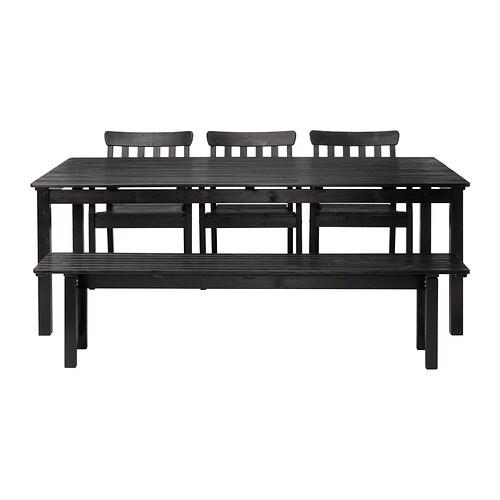 Ngs tisch 3 armlehnst hle bank au en schwarz lasiert ikea - Tisch lasieren ...
