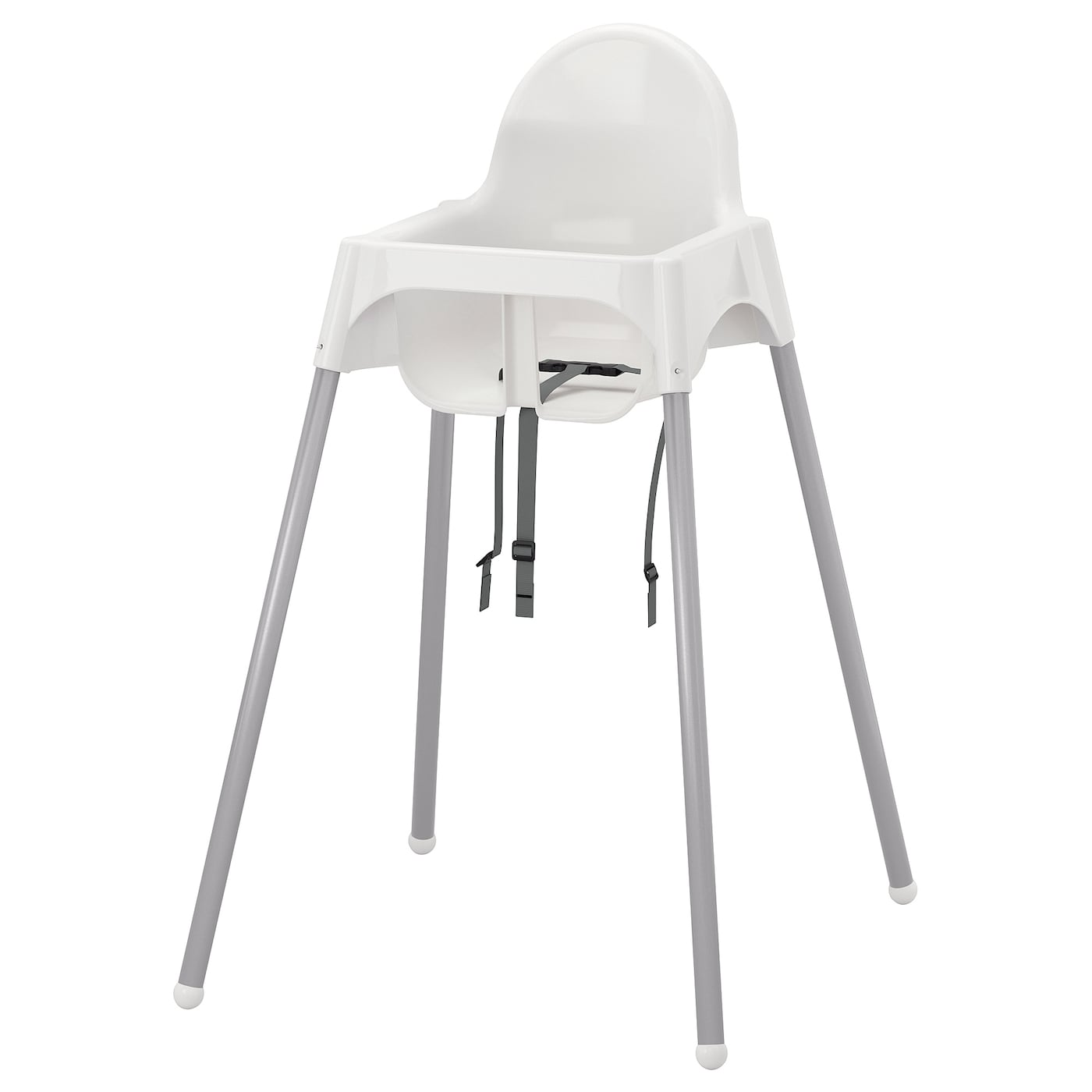 wei/ß und silber Kinderhochstuhl Antilop von Ikea mit Tablett und Sicherheitsgurt komplett mit Sitzkissen