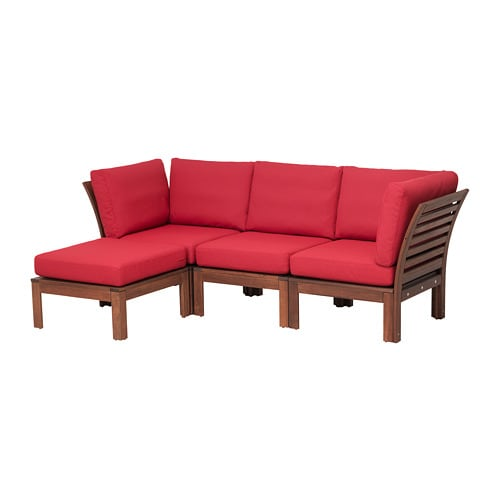 pplar 3er sofa hocker au en braun las fr s n duvholmen rot ikea. Black Bedroom Furniture Sets. Home Design Ideas