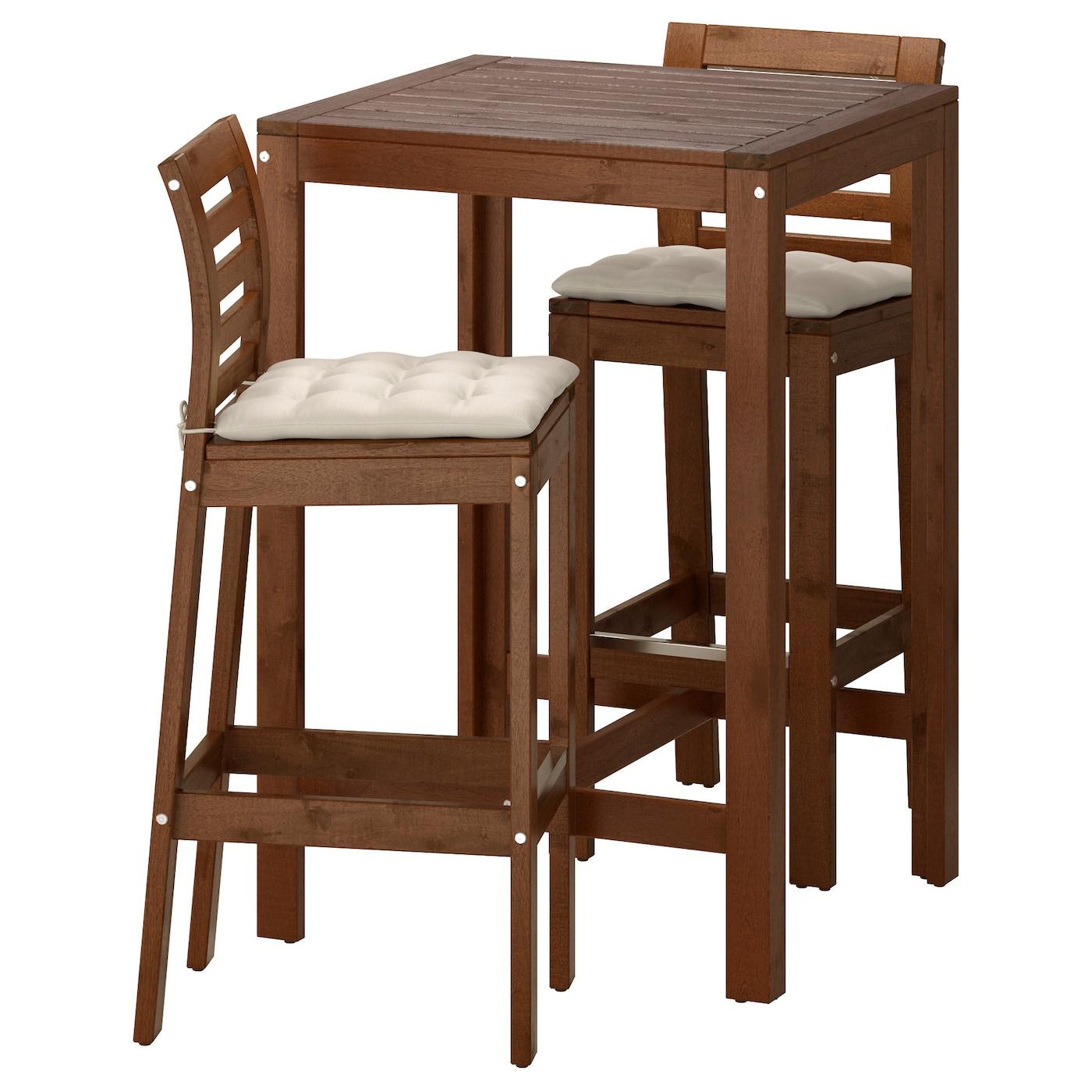 ÄPPLARÖ, Theke + 2 Barstühle, braun las., beige 591.564.76