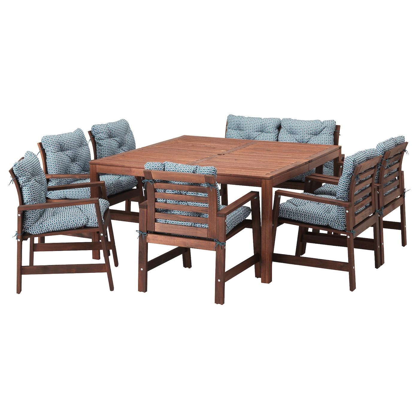 ÄPPLARÖ, Tisch+6 Armlehnstühle+Bank/außen, braun las., blau 691.836.48