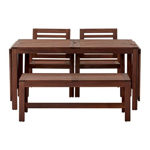 Ikea gartenmöbel äpplarö  ÄPPLARÖ Tisch+2 Armlehnstühle+Bank/außen - Äpplarö für draußen braun ...
