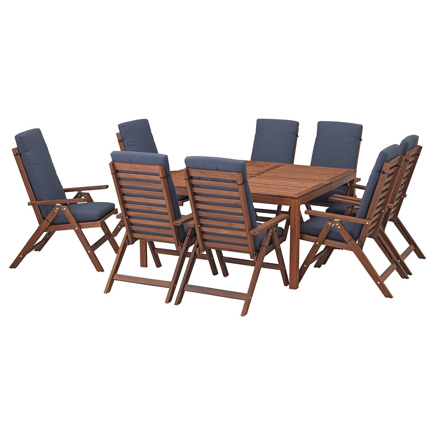ÄPPLARÖ, Tisch+8 Hochlehner, braun las., blau 592.688.22