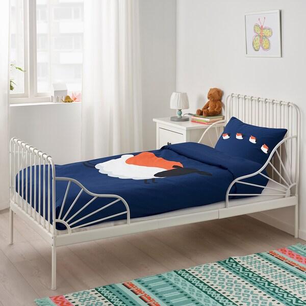 ARMSJÖN Bettwäscheset, 2-teilig, dunkelblau/weiß, 140x200/80x80 cm