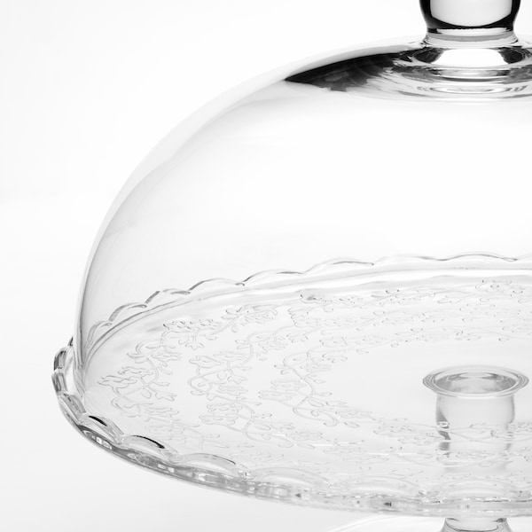 ARV BRÖLLOP Platte auf Fuß mit Abdeckung, Klarglas, 29 cm