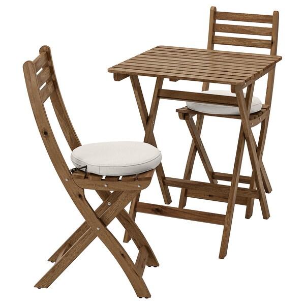 ASKHOLMEN Tisch + 2 Klappstühle/außen, graubraun lasiert/Frösön/Duvholmen beige