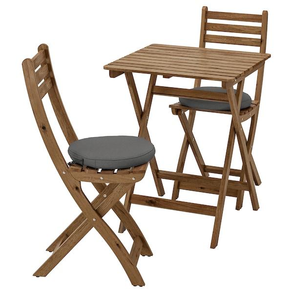 ASKHOLMEN Tisch + 2 Klappstühle/außen, graubraun lasiert/Frösön/Duvholmen dunkelgrau
