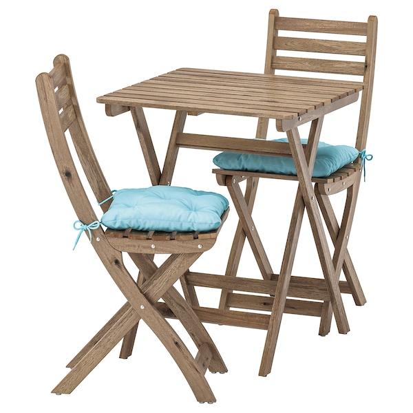 ASKHOLMEN Tisch+2 Stühle/außen, graubraun lasiert/Kuddarna hellblau