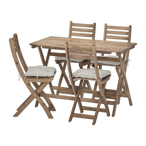 Askholmen Tisch 4 Klappstuhle Aussen Askholmen Graubraun Lasiert