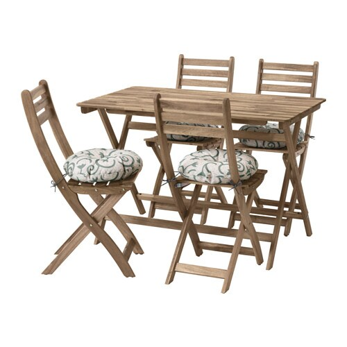 askholmen tisch+4 stühle/außen - askholmen grau/braun/stegön beige, Gartenmöbel