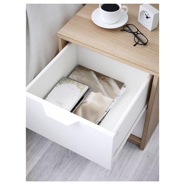 ASKVOLL Kommode mit 2 Schubladen, Eicheneff wlas/weiß, 41x48 cm