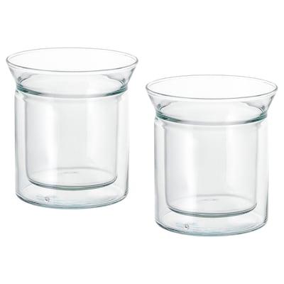 AVRUNDAD Becher doppelwandig/Klarglas 12 cm 15 cl 2 Stück